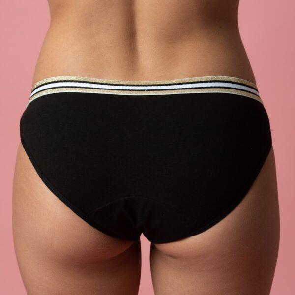 Culotte menstruelle ado flux léger Black Glitter verso Bloomie Looomie
