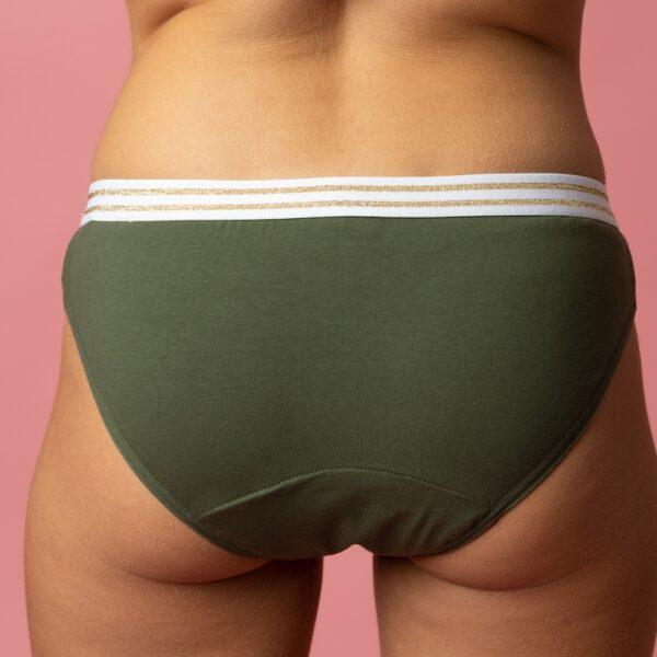 Culotte menstruelle ado flux léger Kaki verso Bloomie Looomie