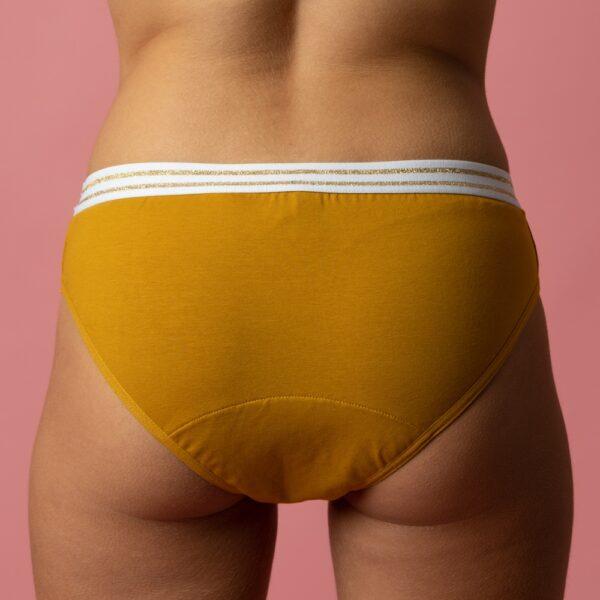 Culotte menstruelle ado flux léger Yellow Stone Bloomie verso Looomie