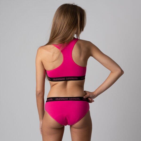 Culotte menstruelle + brassière ICONIC Pink verso Bloomie Loomie