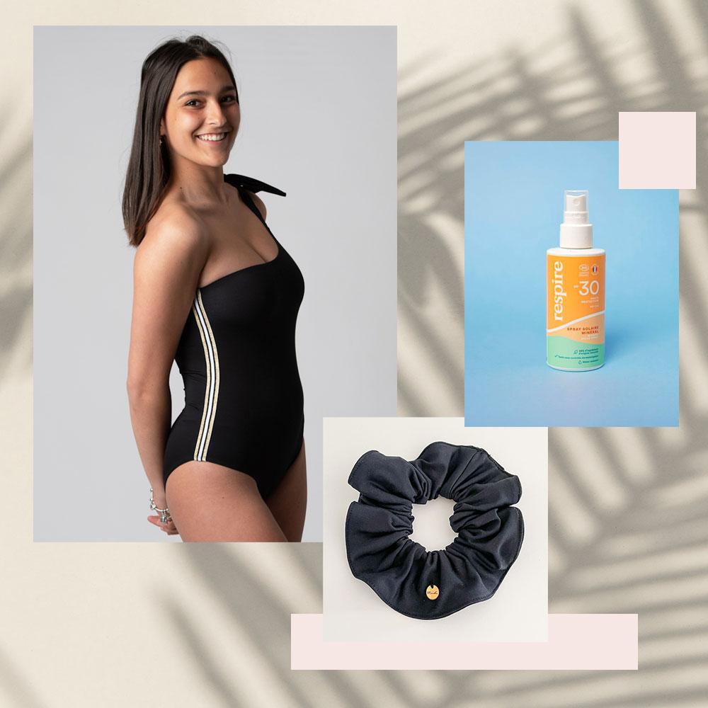 Box maillot de bain menstruel ado avec chouchou et crème solaire
